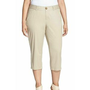 Sejour Womens Tan Oxford Capri Pants Plus Size 14W